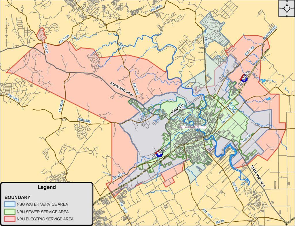 NBU Service Area Map